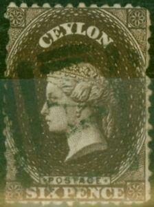 Ceylon 1869 6d Deep Brown SG67 Gut Gebraucht (2)