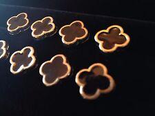 Black Gold Enamel Metal Buttons Designer Quatrefoil Luxury Set of 8