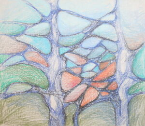 Abstract landscape pastel painting