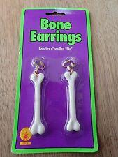Bone Ear Rings Fancy Dress Costume Cave Man Women