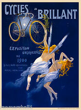 Cycles Brillant Vintage French Nouveau Bicycle Poster Print Art Advertisement