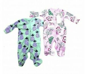 Ex N**T Baby Girl 2 Pack Pineapple Floral Lilac Sleepsuits N/B 1 3 6 9 12 18 Mth