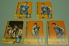 5 DIFFERENT 1972 - 73 TORONTO MAPLE LEAFS TOPPS HOCKEY CARDS