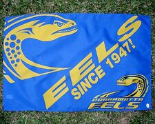 NRL PARRAMATTA EELS FLAG Large Blue 'Since 1947' 900mmx600mm on stick- NEW!