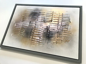 One-off Art Abstract Painting Original Canvas Ex ShowHome Pink Grey Frame £399