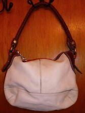 Fossil White Pebbled Leather Handbag Shoulder Bag w/ Brown Leather Trim Zb 2562