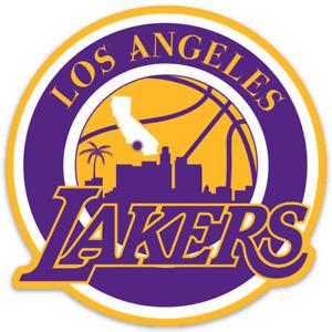 Los Angeles Lakers Classic Logo Type LA Basketball City scene Die-cut MAGNET