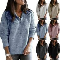 Women V Neck Knitted Sweater Pullover Ladies Baggy Casual Pullover Tops