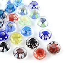 20pcs Handmade Lampwork Glass European Beads Flower Inner Large Hole Charms 14mm