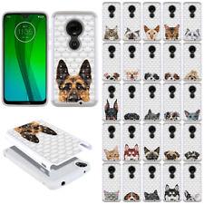 For Motorola Moto G7 /G7 Plus Pet Design Bling Hybrid Rubber Case Cover