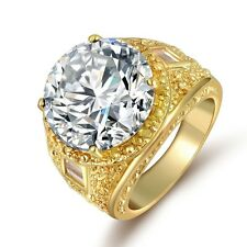 14mm Round Cut Womens Men Yellow Gold Filled Silver CZ Wedding Engagement Ring