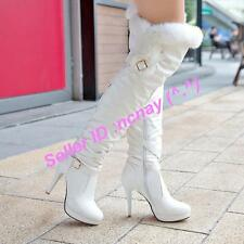 Elegant Lady Womens Over The Knee High Boots Fur Trim Stilettos High heels Shoes