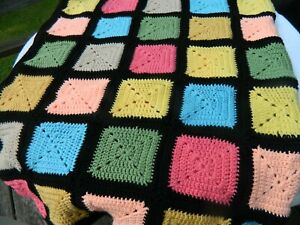 Solid Granny Square Twin Bed Comforter or Coverlet, NEW, Hand Made