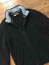VTG 90s Abercrombie & Fitch Mens Zip Front Ribbed Cardigan Sweater Wool, Navy M