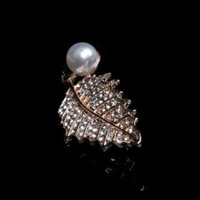 Accessory Rhinestone Imitation Pearl Sparkle Pin Leaves Brooch