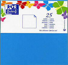 OXFORD Paquet de 25 CARTES CARREES 155 x 155 mm BLEU LAGON 240 Grs/m2