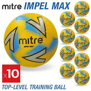 10 x Mitre Impel Max Footballs Yellow - Sizes 3, 4 & 5 - Brand New