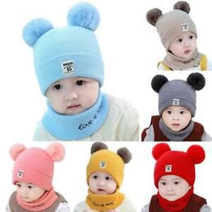 Kids Toddler Baby Boy Girls Winter Cute Pom Hat Knit Warm Beanie Cap Scarf Sets