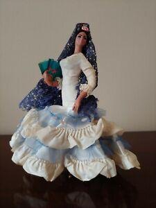 "Vtg MARIN CHICLANA Spanish Flamenco Dancer White Blue Fan Doll 7"" Espana Spain"