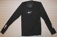 NIKE RUNNING Mens AeroReact Black Gray w/ Reflective Silver Shirt New Medium