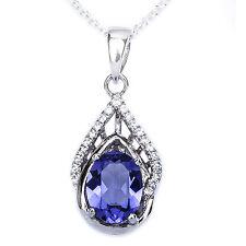 """Oval Shape Tanzanite & Cz .925 Sterling Silver Pendant Necklace w/ 18"""" Rolo Chai"""