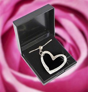 """Sterling Silver Heart Pendant Handmade 18"""" + Free 925 Silver Plated Curb Chain"""