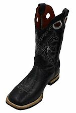 Men Genuine Cowhide Leather Shoulder Print Cowboy Boots Square Toe Style DB 350