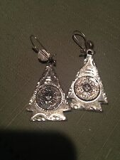 Vtg Taxco Mexico Sterling Silver 925 & Sun Dial Arrow Earrings