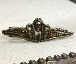 Steampunk tie clip- upcycled Vintage tie clip w/ Egyptian Theme, Red Crystals