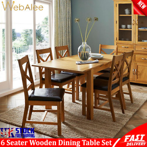 6 Seater Dining Table Set Solid Oakwood And Pu Faux Leather Chairs Furniture UK