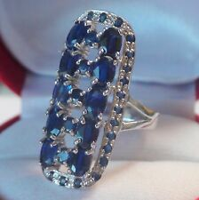 BIG! NATURAL KYANITE,SAPPHIRE 44.95 CT LADIES RING 925 STERLING SILVER.SIZE 9.0,