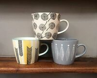 Gisela Graham Stoneware Mugs - Grey Feather, Mustard Chevron, Dandelion Ceramic