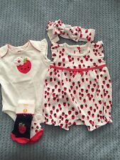 Gymboree Baby Girl 0-3m Lot Of 4 Pices Strawberry Theme NWT Free Shipping