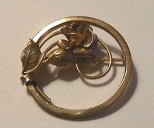 Kara Jewelry Pin Rose In Circle Signed on Reverse 1970s