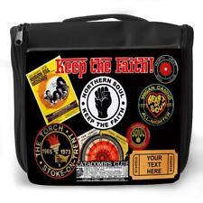 Personalised Wash Bag NORTHERN SOUL BADGE Hanging Toiletry Travel Gym Gift KS65