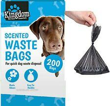 200 Dog Puppy Scented Waste Poo Bags Easy Tie Handle Poop Disposable Black Pets