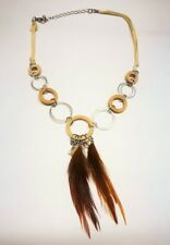Coachella feather and wood necklace with yellow suede cord