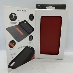 Knomo iPhone X / XS Premium Leather Folio Phone Case 360 Protection, CHILLI RED