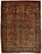 Rug / carpet antique wool hand knotted red and brown Sarough (270 X 360 cm)