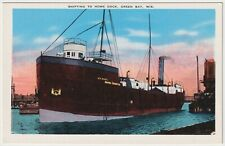 Shifting To Home Dock, Green Bay, Wisconsin - Vintage Postcard