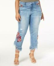 Inc International Concepts Plus Women 22w Blue Floral Ripped Slim SKINNY Jeans