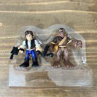 "Star Wars Galactic Heroes Han Solo 2011 & Chewbacca Wookie 3"" inch figures"