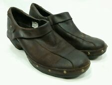 Womens Merrell Luxe Espresso Shoes Size 10 Brass Studs On Brown Leather Slip On