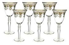 (D) Crystal Wine Stem Glasses with Gold Floral Decor 6-pc Set, Vintage Style