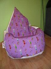 """Sitzsack """" von Lux """"  ca 270 Liter Tinker Bell Lederimitat weiß Disney World"""