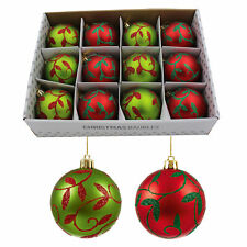 Box of 12 Luxury 80mm Christmas Tree Baubles - Red / Green Glitter Pattern