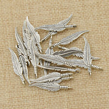 1 Set Alloy Feather Charm Pendant Vintage Silver DIY Jewelry Bracelet Necklace