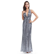 US Women Long Sequin V-neck Formal Evening Party Dress Celebrity Prom Gown 07109