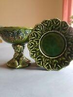 Green Vintage ceramic LEFTON H4963 Cherub/grapes taper holder *bonus* saucer
