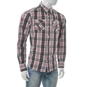 Garcia Vintage Style Men's Two-Pocket Button Up Shirt Long Sleeve Plaid Size L